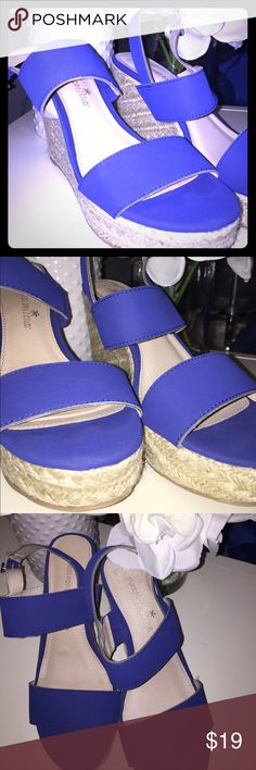 NWT Montego Bay Club Royal Blue Wedges Size 7 Brand new Montego Bay Club Wedge Sandals with Royal Blue Straps.  Never been worn and in excellent condition. Size 7 from a pet, smoke and perfume free home. Montego Bay Club Shoes Wedges