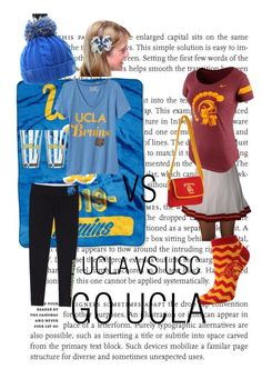 """UCLA VS USC"" by jessicawednesday ❤ liked on Polyvore featuring The Northwest Company, adidas, Old Navy, NIKE and For Bare Feet"