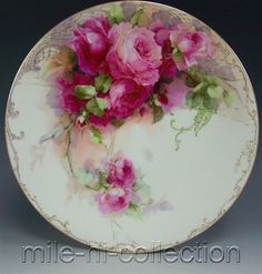 1905 Limoges Hand Painted Roses Plate