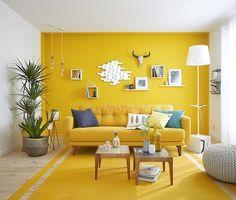 55 Ideas Room Decor Yellow Walls Interior Design For 2019 Yellow Walls Living Room, Living Room Paint, Living Room Colors, Living Room Designs, Yellow Walls Bedroom, Grey Walls, Living Room Color Ideas Yellow, Yellow Rooms, Yellow Wall Decor