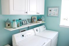 Installing an easy shelf above your washer and dryer for more storage