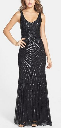 Gorgeous sequin gown in classic black by Aidan Mattox