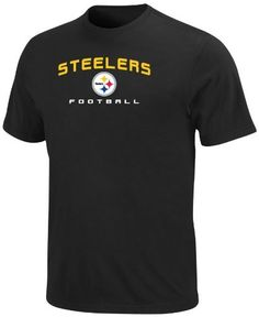 NFL Mens Pittsburgh Steelers Line Of Scrimmage V Black Short Sleeve Crew Neck Tee by Majestic. $12.25. No Fancy Moves Here. The Line Of Scrimmage V Short Sleeve Top Is A Classic Nfl Shirt For A Classic Nfl Fan. Short Sleeve Crew Neck Jersey Tee Provides A Comfortable Fit, While The Embroidered Team Name And Logo Let The Stands Know Who You Are Rooting For.