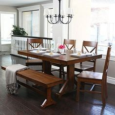 6Piece Solid Wood Dining Set Antique Brown >>> Details can be found by clicking on the image.Note:It is affiliate link to Amazon.