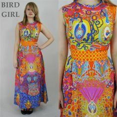 HARDOB 1960S VINTAGE ORANGE PSYCHEDELIC ART NOUVEAU PRINT HIPPY MAXI DRESS 8 XS | eBay