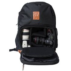 Brevité Rigina Camera Backpack. $160, great features, can carry other stuff in top compartment, easy access door to camera, tripod strap, lens cap holder.