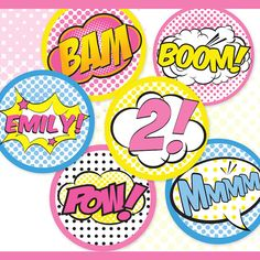 This listing is for printable and editable* SUPERHERO 2 AND 4 CIRCLES and CUPCAKE WRAPPERS - Cupcake Toppers or Cake Toppers. 2 Circles are