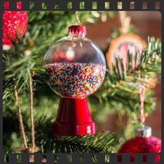 Candy Machine Ornament  #Seasonal #TerraCottaPot #HotGlueGun #Sprinkles #Candy #ChristmasIdeas #AcrylicPaint #Ornament #GumballMachine #diy