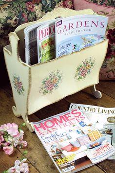 Vintage Home - Vintage Italian Floral Magazine Rack.