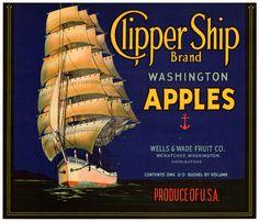 Apple Crate Label Clipper SHIP Wenatchee Washington 1920s Blue Label | eBay