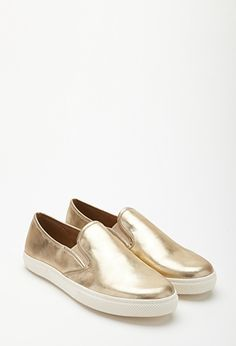 Crackled Metallic Slip-Ons | FOREVER21 - 2000118351