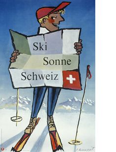 Original vintage poster promoting Switzerland as the Skiers' Paradise featuring an image of a skier on top of a snowy mountain holding a piste map. Artwork by Pierre Monnerat (b Good condition, restored losses on margins, backed on linen. Bally Poster, Poster On, Retro Illustration, Illustrations, Lausanne, Grindelwald Switzerland, Ski Switzerland, Posters Australia, Vintage Ski Posters