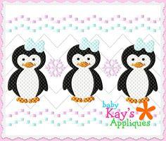 Baby Kay's Appliques - Penguin Girl Faux Smock 4x4, 7x3, 7x5, $1.00 (http://www.babykaysappliques.com/penguin-girl-faux-smock-4x4-7x3-7x5/)