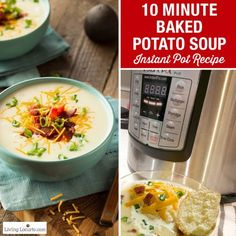 10 Minute Baked Potato Soup is the perfect quick and easy hearty meal! With a pressure cooker like the Instant Pot, you'll have dinner in minutes.