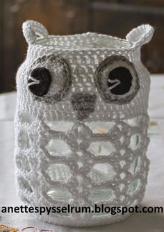 Anette´s Pysselrum: Ugglelyktor Stick O, Crochet Animals, Crotchet, Doilies, Tatting, Diy And Crafts, Owl, Presents, Inspiration