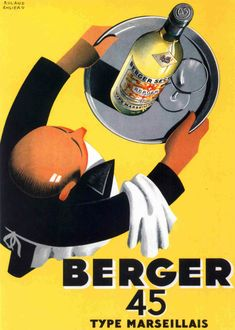 Vintage French Wine Poster Berger 45 by Roland Ansieau, 1935 advertisement, beverage, classic, drink, French, high resolution, old, ronald ansieau, vintage, wine
