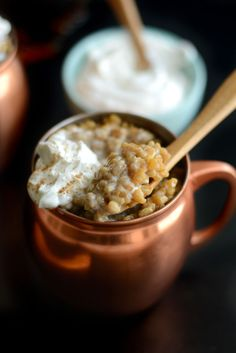 Healthy Vanilla Almond Milk Latte Rice Pudding #recipe #dessert