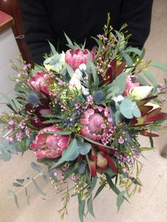 Pink protea,red lecodenron,blushing bride, nutty gum, gum wedding bouquet 27.6.2015