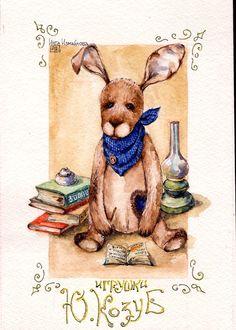 bears dolls toys watercolor postcards открытки куклы мишки тедди акварель по мотивам работ Юлии Козуб