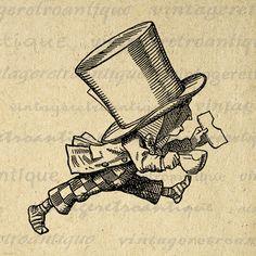 Digital Printable The Mad Hatter Download Alice in Wonderland Graphic Image Vintage Clip Art Jpg Png Eps 18x18 HQ 300dpi No.1365 @ vintageretroantique.etsy.com #DigitalArt #Printable #Art #VintageRetroAntique #Digital #Clipart #Download