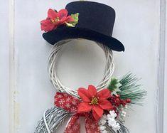 Snowman Wreath, Winter Wreath, Christmas Wreath, White Wreath, Poinsetta Wreath, Christmas Decor, Holiday Decor, Winter Decor, Front Door