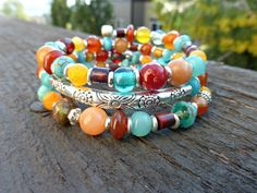 You will be able to wrap it around your wrist 3 times. This bracelet wraps onto your wrist with no clasp, and the memory wire will always hold its round shape. It fits all sizes. Bracelet is lightweig