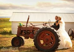 "Country Wedding Picture Ideas. ""Take you for a ride on my big green tractor""  Jaclyn Heward Photography"