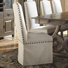 Champlain - Custom Dining Customizable Upholstered Side Chair with Skirt and Nailhead Trim by Canadel at Belfort Furniture Upholstered Dining Chairs, Dining Room Chairs, Side Chairs, Furniture Upholstery, Dining Furniture, Belfort Furniture, Small Cushions, Modern Room, Home Furnishings
