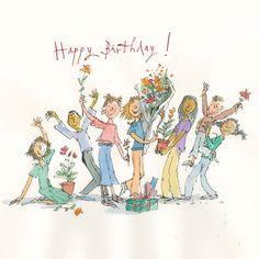 Send a Quentin Blake E-Card Happy Birthday Greetings Friends, Happy Birthday Vintage, Birthday Wishes Messages, Birthday Blessings, Happy Birthday Pictures, Happy Birthday Sister, Funny Birthday Cards, Happy Birthday Chicken, Quentin Blake Illustrations