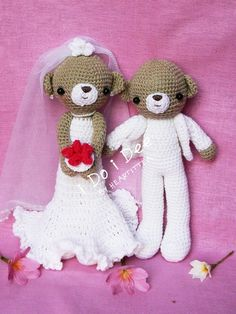 Couple Amigurumi  Find more item at https://www.facebook.com/nizafreehandcrochet  #crochet #dolls #bride #groom #wedding #gifts #human #couple #hook #yarn #acrylic #anniversary #cheerful