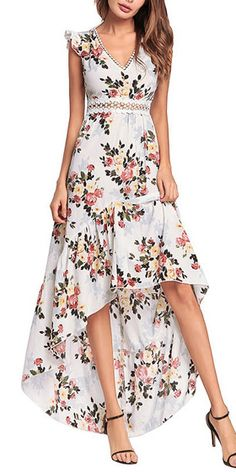 The Elegant Backless Floral Maxi Dress High Low Sexy Cocktail Party Dress online shopping - Totoppremium Hi Low Dresses, Casual Dresses, Summer Dresses, Teen Dresses, Summer Maxi, Club Dresses, Floral High Low Dress, Floral Maxi Dress, Party Dresses Online