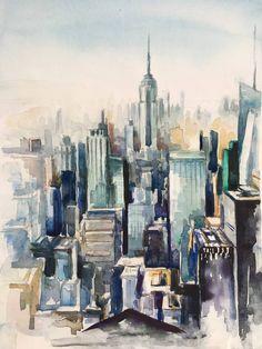 Original Architecture Painting by Sasha Katunian New York Painting, City Painting, Painting Abstract, Acrylic Paintings, New York Drawing, City Drawing, Watercolor City, Watercolor Painting, Portrait Paintings