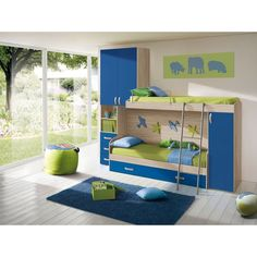 Chambre d'enfant complète HURRA combiné lits superposés décor orme / bleu MENNZA