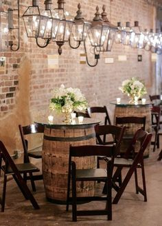 Design Portfolio | Planner + Designer | Elyse Jennings Weddings, Photo | Greer Gattuso Photography, Florist | Kim Starr Wise, Venue | Bevolo Gas Lantern Museum, New Orleans wedding, engagement party, wine barrel tables, gas lanterns, white flowers