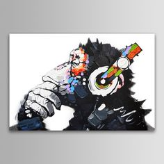 Modern Abstract Wall Art Print Picture Painting On Canvas Dj Monkey With Frame Painting Prints, Wall Art Prints, Canvas Prints, Canvas Pictures, Print Pictures, Abstract Wall Art, Canvas Wall Art, Tableau Pop Art, Monkey Art