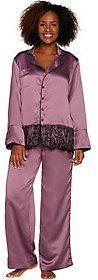 Casa Zeta-Jones Faux Silk Pajama Set with Lace Trim and Gift Box