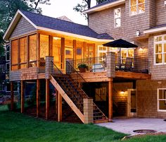 3 Season Porch - I like how the non-covered deck is extended beyond the covered portion on the side by the steps.