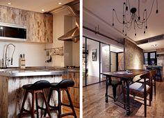 汐止 17 坪老屋翻新工業宅 - 馬鞍形的吧台椅和工業風餐桌都好迷人喔~~