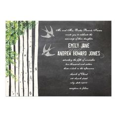 Vintage Chalkboard Love Bird Birch Tree Wedding Cards