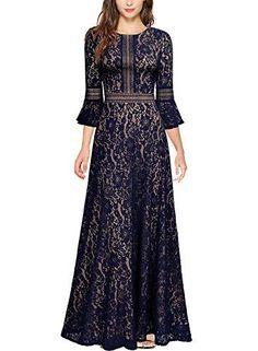 b8c27211408 Women s Vintage Full Lace Contrast Bell Sleeve Formal Long Maxi Dress
