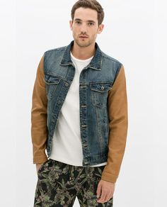 AW 2014 DENIM JACKET WITH FAUX LEATHER SLEEVES from Zara