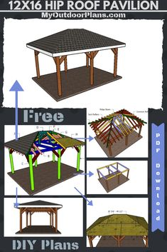 This step by step diy project is about pavilion with hip roof plans. I have designed this pavilion so you can create a nice shaded area for the backyard where you can hang out with friends and even serve dinner. Free Pergola Plans, Pergola Cost, Gazebo Plans, Metal Pergola, Diy Pergola, Metal Roof, Outdoor Pavilion, Canopy Outdoor, Backyard Canopy