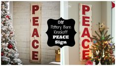 DIY Pottery Barn Knockoff PEACE Sign tutorial at The Happy Housie