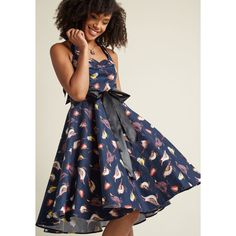 Pinup Perfection Fit and Flare Dress ($28) ❤ liked on Polyvore featuring dresses, apparel, blue, fashion dress, fit flare dress, pinup dresses, mid length dresses, pin up dresses and sun dresses
