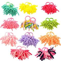 Free Shipping 2 Pcs/Pair Candy colored Girls' Curler Hair Ties