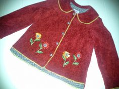 """""""MALLEY SPORT"""" GIRLS RED SWEATER-JACKET RED LINED SIZE 4 #BasicJacket #Dressy"""