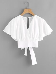 Shop Deep V-cut Split Back Bow Tie Blouse online. ROMWE offers Deep V-cut Split Back Bow Tie Blouse & more to fit your fashionable needs. Bow Tie Blouse, White Blouse Outfit, Crop Blouse, Fashion Clothes, Fashion Dresses, Batwing Sleeve, Mode Inspiration, Mode Style, Types Of Sleeves