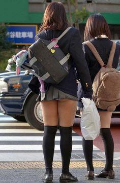 High School Girls, Poses, Girls Show, Knee Socks, Cute Skirts, School Uniform, Fashion Backpack, Stockings, Asian