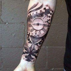 75 Inner Forearm Tattoos for Men – Male Design Idea … – Tattoo World Owl Forearm Tattoo, Forearm Tattoo Design, Forarm Tattoos, Body Art Tattoos, Sleeve Tattoos, Clock Tattoos, Time Piece Tattoo, Pieces Tattoo, Tattoos Arm Mann