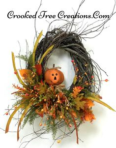 Small Birch Pumpkin Wreath